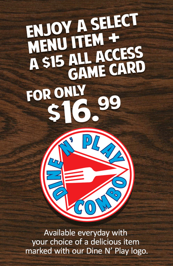 New Dine N' Play with credits and prizes at GameTime Miami Tampa Fort Myers