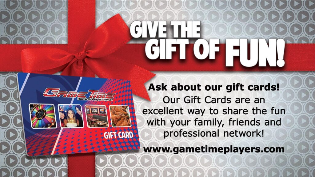 Holiday-Birthday-Entertainment-gift-cards-family-fun-GameTime Arcade-restaurant-sports-bar-miami-tampa-fort-myers