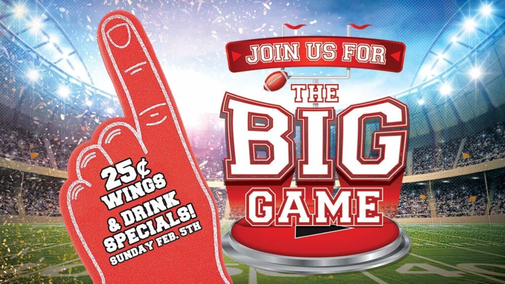 Watch the NFL Playoffs and Superbowl big game at GameTime game time Sports Bar Miami Tampa Fort Myers drink specials 25 cent buffalo bbq chicken wings cold beer