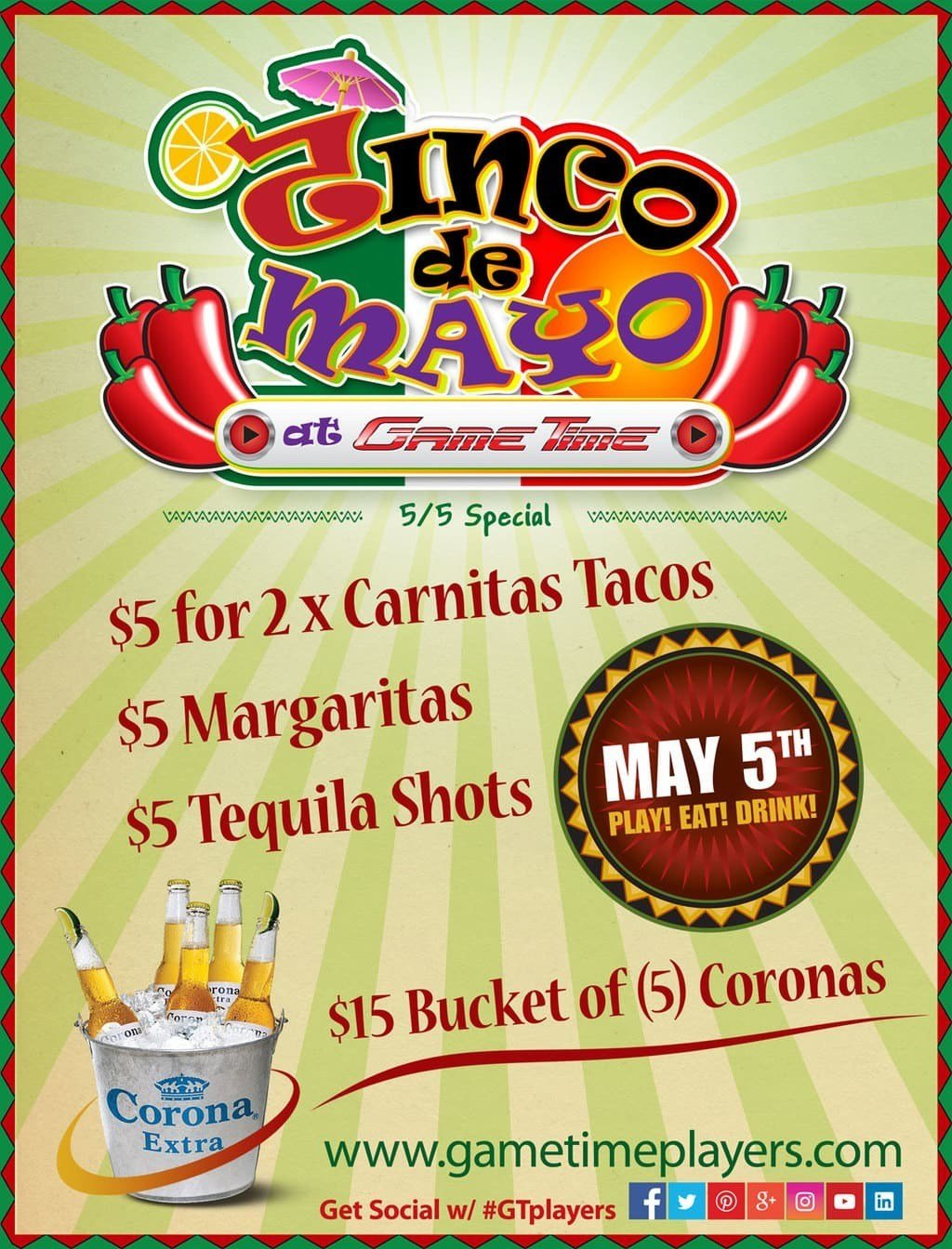Celebrate-Cinco-de-Mayo-at-GameTime-Sports-Bar-Restaurant-Arcade-Miami-Tampa-Ybor-City-Fort-Myers-Tequila-Coronas-Margaritas-Carnitas-Tacos