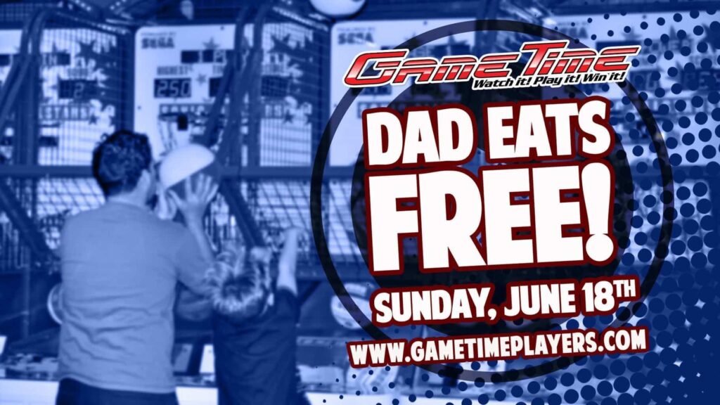 Fathers Day at fun family entertainment center Restaurant in Miami Tampa Fort Myers Florida Dad Eats Free