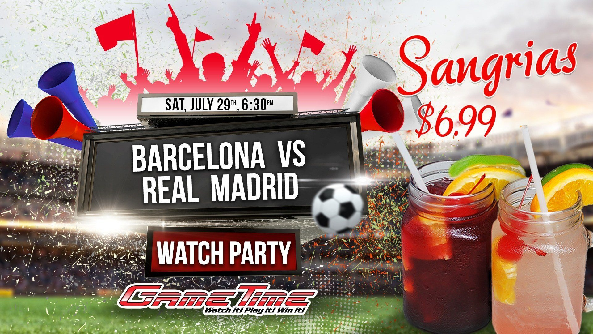 El-Clasico-Watch-Party-in-Miami-Tampa-Fort-Myers-Barcelona-vs-Real-Madrid-Watch-it-at-GameTime-Sports-Bar-Entertainment-center-drink-specials-face-painting