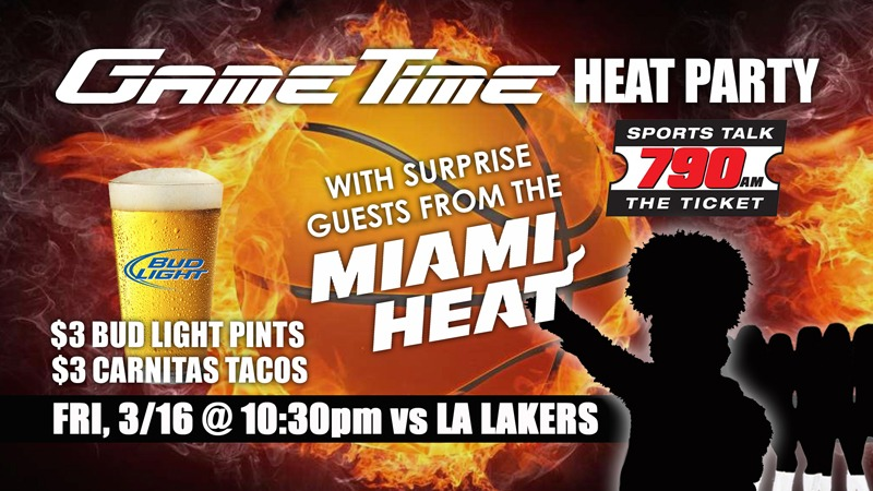 Watch the Miami Heat at GameTime Watch Party food and drink specials sunset place Miami