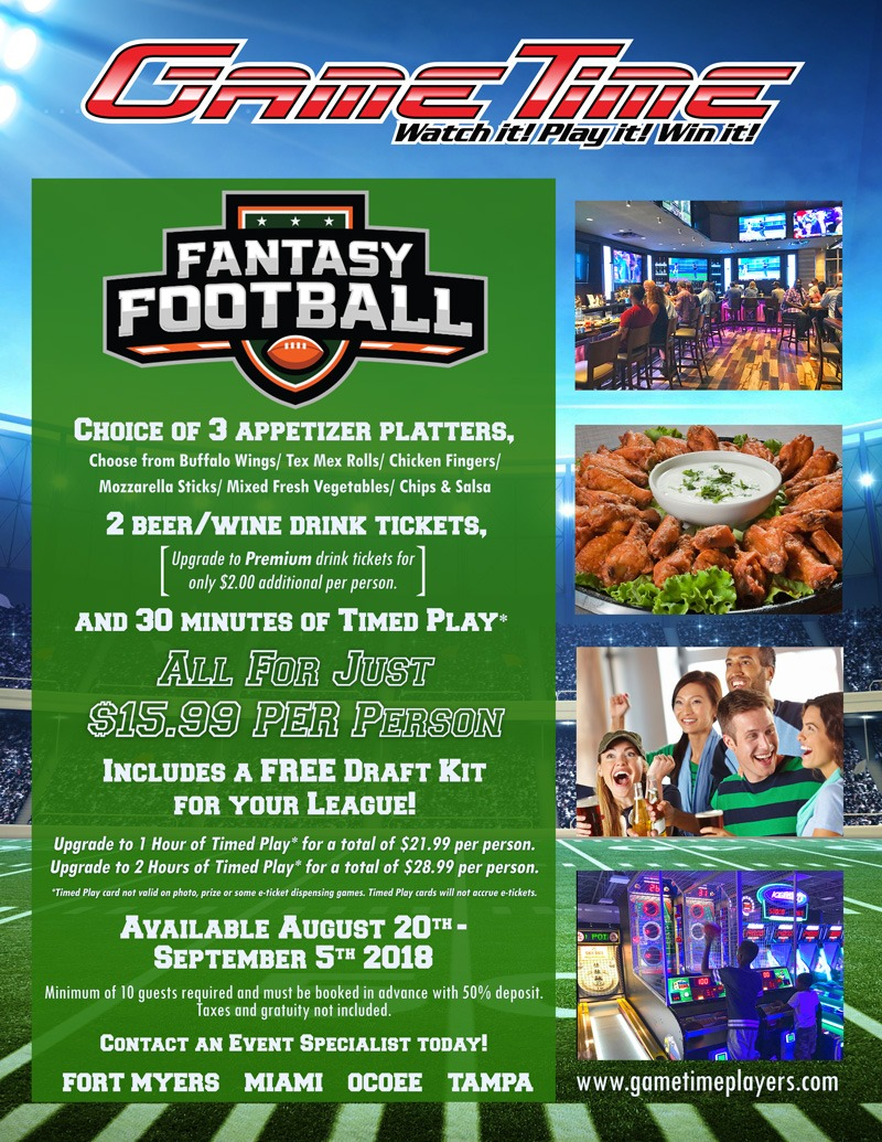 Book your Fantasy Draft Party at GameTime Miami Tampa Fort Myers Ocoee Florida Sports Bar and games