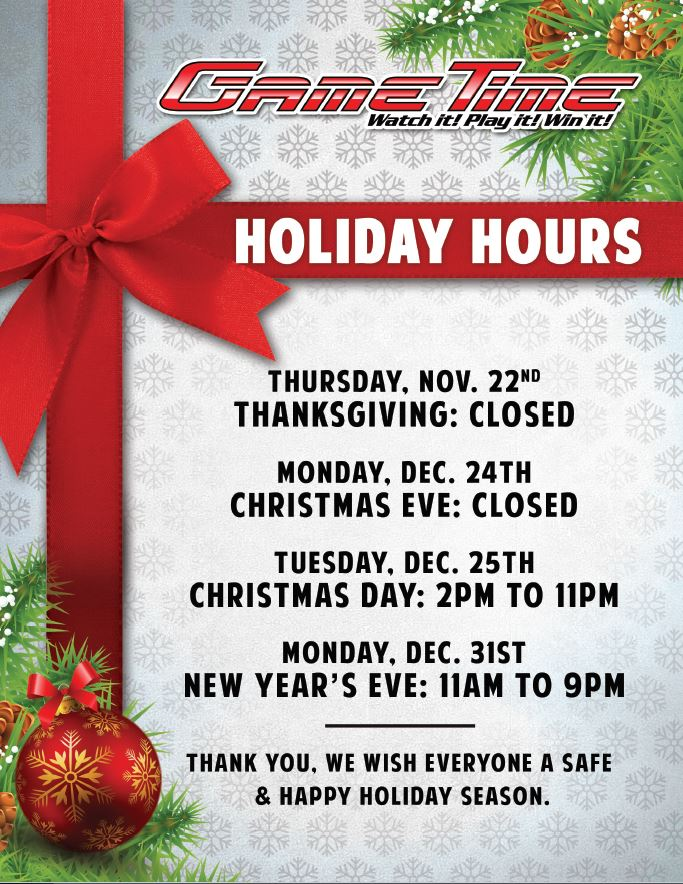 GameTime Holiday Hours 2018 WEB